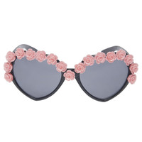 Rose-Lined Heart-Shape Sunglasses | Wet Seal