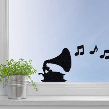 Gramophone Wall Decal - Velvet Wall Decor - Music Note Stickers - Record Player Wall Sticker - Musical Decor - Music Decals