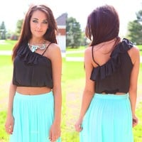 Ruffle It Off Crop Top in Black