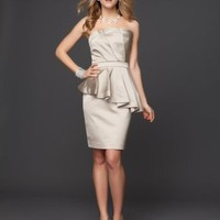 Cascading Ruffle Satin Pencil Dress - Rami Kashou