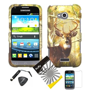 4 items Combo: ITUFFY (TM) LCD Screen Protector Film + Mini Stylus Pen + Case Opener + Pine Tree Leaves Deer Camouflage Outdoor Mountain Wildlife Design Rubberized Snap on Hard Shell Cover Faceplate Skin Phone Case for (Virgin Mobile / Sprint) Samsung Gala