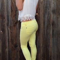 Pastel Yellow Skinny Pants