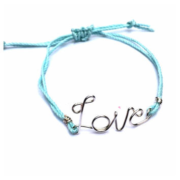 Infinite Love Silver Script Bracelet with Light Blue Hemp Cord