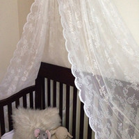 Lace canopy for baby girl crib nursery or bed or photo prop Tulle canopy, Organza Canopy