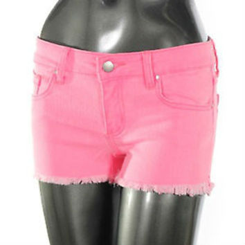 Neon Pink Frayed Shorts