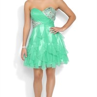 Strapless Short Prom Dress with Stone Bodice and Tendril Skirt
