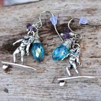 Surfer Jewelry from Hawaii, Hawaiian Jewelry, Surf Girl Earrings, Surfboard Charm, Ocean Inspired, Jewelry from North Shore Oahu
