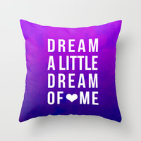 Dream x Purple Throw Pillow by Leah Flores