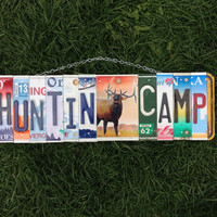 license plate art, recycled, hunting, hunter, elk, man, gift idea, camping.