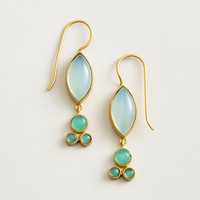 Aqua Stationary Stone Gold Drop Earrings - World Market