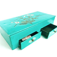 Teal Flower Stationary Box   Vintage Jewelry by MaejeanVINTAGE