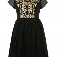 Black/Gold Bead & Sequin Baroque Print Dress | Curvy Plus Size Dresses | Desire