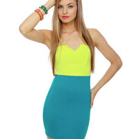 Sexy Strapless Dress - Neon Yellow Dress - Teal Dress - $35.50