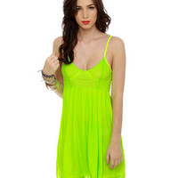Hot Neon Yellow Dress - Highlighter Yellow Dress - $43.00
