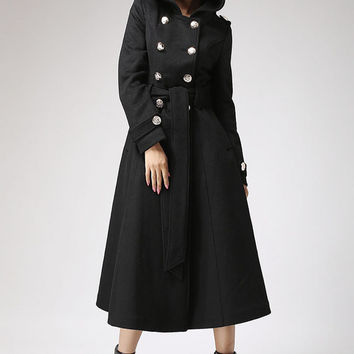 Winter women jacket cashmere coat with hood (707)