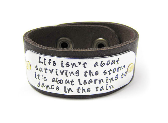 leather cuff inspirational quote bracelet from geekdecree