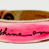Artist's Script SHINE ON neon pink & white by LeatherCoutureLV