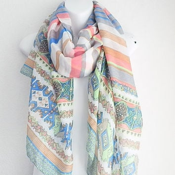 Color Block spring scarf Oblong Paisley scarf Scarves Infinity scarf Tribal Scarf in mint and coral chevorn scarf cheveron stripe scarf
