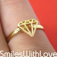 Adjustable Diamond Cut Out Ring in Gold | smileswithlove - Jewelry on ArtFire