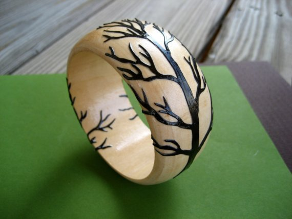 $45.00 Branching Out Wooden Bangle Brown by sparklinglotusdesign on Etsy