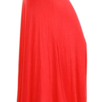 In Style Long Solid Coral Maxi Skirt
