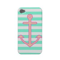 Pastel Mint Nautical Anchor Case-mate Iphone 4 Cases from Zazzle.com