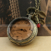 Vintage pocket watch necklace with smoky cover and leaves charm by mosnos