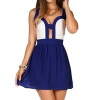 NavyWhite Colorblock Cutout Dress