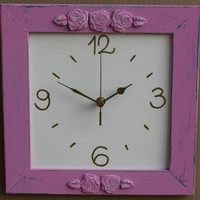 Dark Pink &amp; Cream Shabby Chic Wall Clock 