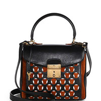 Metropolitan Perforated Mini Mixed-Media Satchel