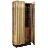 "Elegant Brass & Exotic Wood ""Symphony"" High Boy Dresser, Limited Edition of 20"