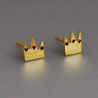 Crown Studs King and Queen Love Earrings Set Sterling Silver Gold Plated Ruby Gemstones Fine Jewelry Chic Pair Gift for Mother Lover Friend