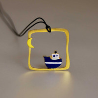 Sea Voyage Under the Moonlight Boat Square Pendant Sterling Silver Gold Plated Frame Cotton Black Cord Hand Painted Enamels Nautical Colors