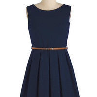 ModCloth Vintage Inspired Short Sleeveless A-line 'Tis a Shift to Be Simple Dress in Navy