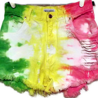Rainbow High Waisted Denim Cut Off Shorts Green Yellow by twazzy