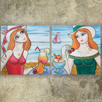 "Portrait Painting - beach art - Beautiful girls ice cream and cocktail Art diptych KSAVERA ""Janny"" Still life Erotica Lady Girl two sisters"