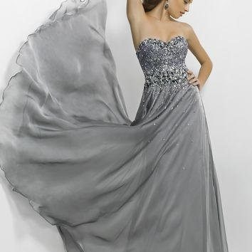 Blush Prom 9707 Gunmetal Strapless Gown Website Special