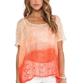 Gypsy 05 Embroidered Easy Top in Peach