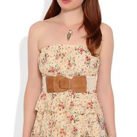 Lace Tube Top with Small Floral Print and Belt