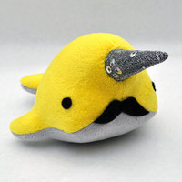 Narwhal Plush with Mustache Small MADETOORDER by OstrichFarm