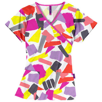 Impulse by Scrub Works Women's Mock Wrap Print Top