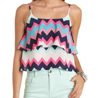 CHEVRON PRINT FLOUNCE SWING CROP TOP