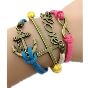 Healthtop Handmade Infinity Love Anchor Cross Pink Blue White Suede Rope Wrap Bracelet Fashion Jewelry