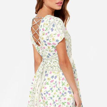 How Does Your Garden Grow? Ivory Floral Print Dress
