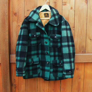 vintage thick heavy rainproof wool green black buffalo plaid overcoat. A Malone Coat. J.O. Ballard & Co. wool woodsmen coat. wool lumberjack