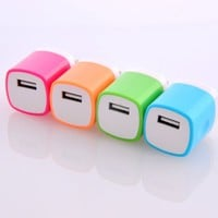 Magic-T USB AC/DC 1.0 AMP Power Adapter 4pcs Colorful Home Wall Charger Plug for iPhone 3G 3GS 4 4s 5 5s 5c Ipod Touch Samsung Galaxy S1 S2 S3 S4