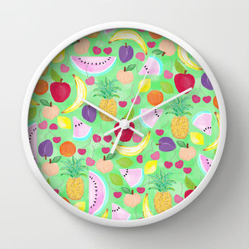 Fruit Punch Wall Clock by Lisa Argyropoulos | Society6