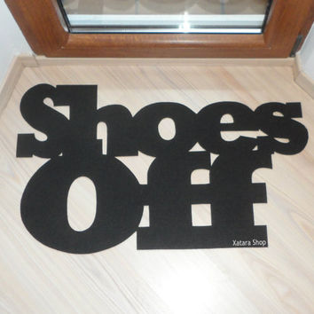 Custom doormat: Shoes Off. Home decor. Elegant floor mat.