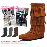 Triple fringe boots Calf Hi's 3-layer Fringe Boot 3 layer カーフハイ MOCCASIN moccasin women's 1632 Brown 1639 black 1631 T gray dusty 1638 (celebrity / model / entertainer)