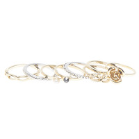 Rose & Rhinestone Midi Ring Set | Wet Seal